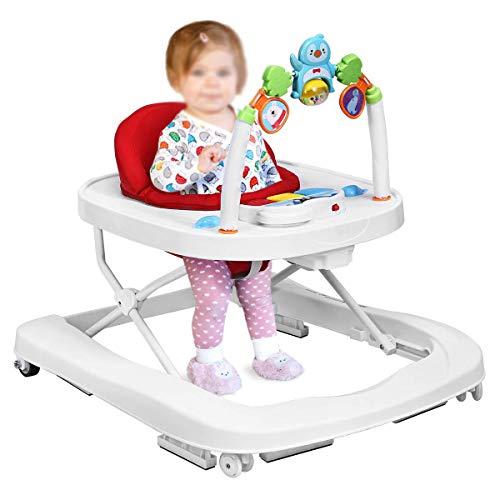 Portátil plegable 2 en 1 altura de bolso ajustable, pedicura para bebés con música y luces,Red