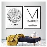 LTGBQNM Abstracto Madrid Ciudad Mapa de la ciudad Arte de la pared Pintura de la lona España Estampado de calle y cartel Negro Blanco Imágenes de viaje Decoración de la sala de estar 20x28inchx2 Sin M