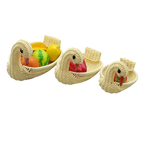 Vylila 3PCS Bamboo Woven Basket Tea Dish Fruit Decorations Snack Dessert Handmade Storage Organizer