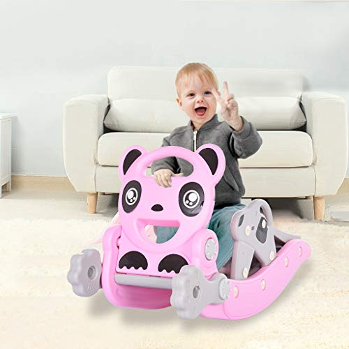 Baby Rocking Horse Slide, Shwuka 4 in 1 Children Climbing and Rocking Horse Set with Slide, Basketball Hoop, Ferrule, for Indoor and Backyard Slide Set for Kids Gift (pink)