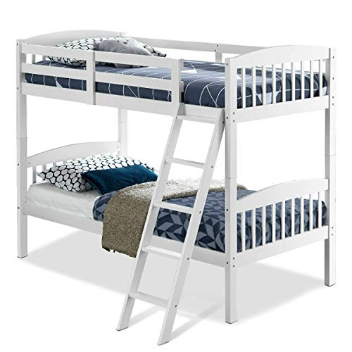 StarSun Depot Twin Over Twin Wooden Bunk Bed with Ladder in White Wood Finish