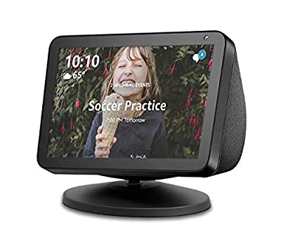 Adjustable Stand for Echo Show 8 and Echo Show 5, Base Mount Accessory Compatible with Amazon Alexa Smart Speakers, Built-in Magnetic, Swivel and Tilt, Anti-Slip Base, Black from IRONA YUEXI TECHNOLOGY LLC