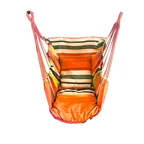 KOLOSM Hammock For Bedroom 130 x 100cm Canvas Bedroom Hanging Hammock Chair Adults Kids Indoor Portable Relaxation Thickened Outdoor Swing Travel Camping (Color : Orange A)