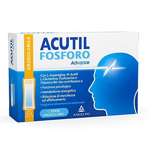 Acutil Fosforo Advance Orosolubile, Integratore Alimentare a base di L-Asparagina, N-Acetil-L-Glutamina, Fosfoserina e Vitamina B6, Senza Glutine e Senza Lattosio, 12 Stick Orosolubili
