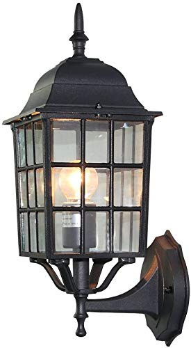 LYDREAM Cabina Terraza/Porche 1-Luz Exterior Luz de Pared con Vidrio Luminaria al Aire Libre Luminaria, Tratamiento de la Superficie Negra,Black