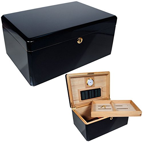 New Ebony Humidor Cuban Crafters Colores Negro Humidors Box for 100 Cigars