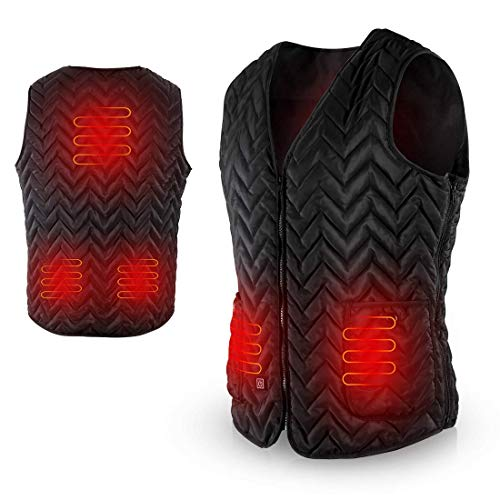 AGPTEK Heated Vest USB Charging, Light Weight Insulated Waistcoat, Washable Size Adjustable for Outdoor Hiking, Hunting, Camping (Battery Not Included) Size: XL
