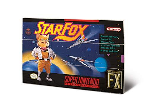 Nintendo MW12480P Impression sur Bois 29,5 x 20 cm-Super (Star Fox), Multicolore, 20 x 29, 5 x 1, 2 cm