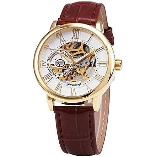 Reloj mecánico de hombre de oro negro 3D Relojes de hombre Diseño de cuero Hyococ (Color: Marrón)