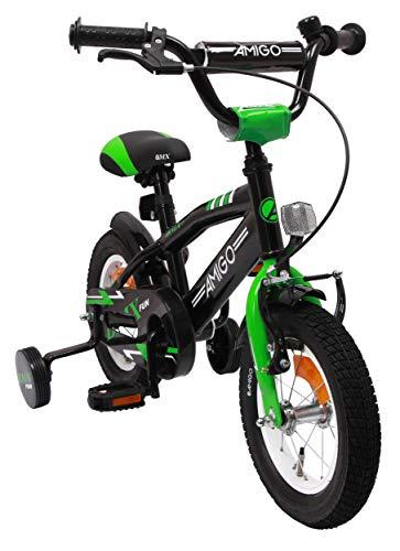 AMIGO BMX Fun Kinderfiets, 12 inch, jongens, met terugtraprem en steunwielen, vanaf 3 jaar, zwart/groen