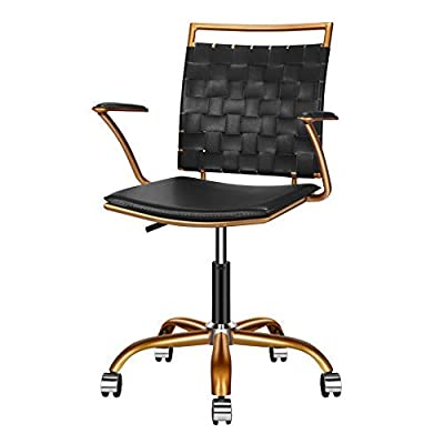 LUXMOD Home Office Chairs Ergonomic Vegan Leather Computer Chair, Black Office Chair Reception Chair Black and Gold Desk Chair, Ergonomic Desk Chair for Extra Back & Lumbar Support - Black