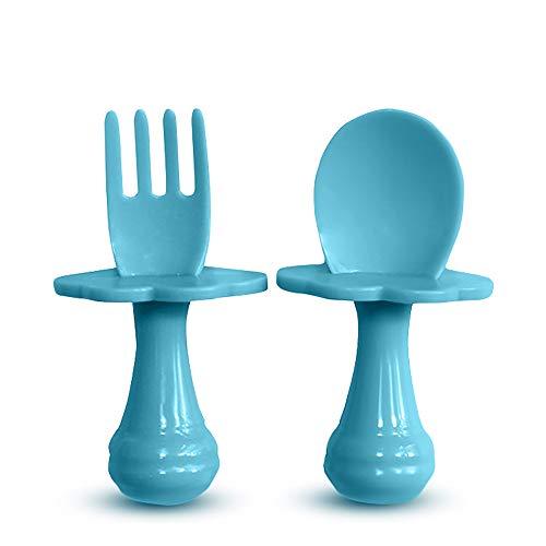 Cuchara para bebé - Tenedor para bebé - Cuchara y tenedor para bebé, Multicolor, Juego de cubiertos para alentar a su bebé a comer independientemente, sin BPA. (Pack de 2, Azul)