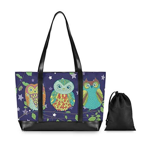 Laptop Tote Computer Bag Women - Funny Cartoon Owls Brunches Business Handbag Computer Shoulder Bags Fits 15.6 Inch Notebook
