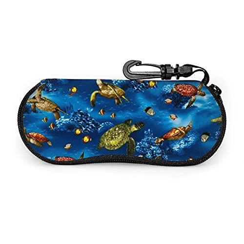 Ascfeagh Batik Sea Turtles Turquoise Cremallera Shell Gafas de sol Estuche/Estuches para gafas Unisex Durable Portátil Ligero 17x8cm