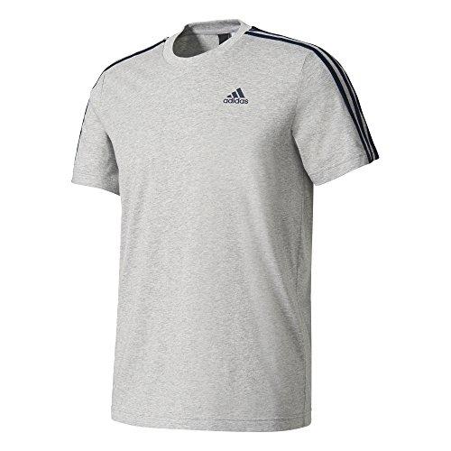 adidas Herren Essentials Classics 3-Stripes T-Shirt, Medium Grey Heather, L