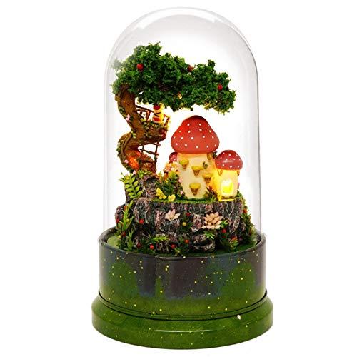Freyla Casa de muñecas Modelo-DIY casa de muñecas Modelo en Miniatura casa de muñecas con Cubierta Antipolvo Girar Caja de música Diario de jardín