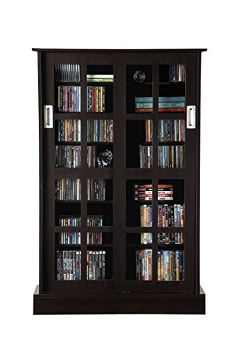 Atlantic Windowpane Adjustable Media Cabinet - Tempered Glass Pane Styled Sliding Doors, Store 216 Blu-Rays,192 DVDs or 576, Adjustable Shelves, 32 X 9.5 X 49.25 inches PN94835721 in Espresso