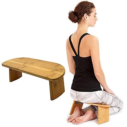 ZZLYY Banco Meditación con Patas Plegables con Bisagras, Taburete Meditación Portátil, Silla Meditación Ergonómica Bambú, Banco Yoga para Práctica Prolongada