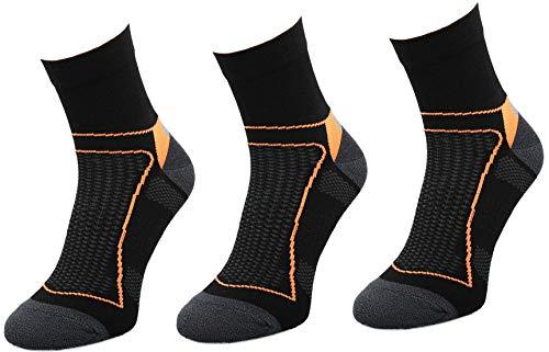 Comodo 3 Pares de Calcetines de Ciclismo | Mujeres/Hombres | Calcetines funcionales | Bicicleta | Deportes | BIK1 | Negro/Naranja | Tamaño: 43-46