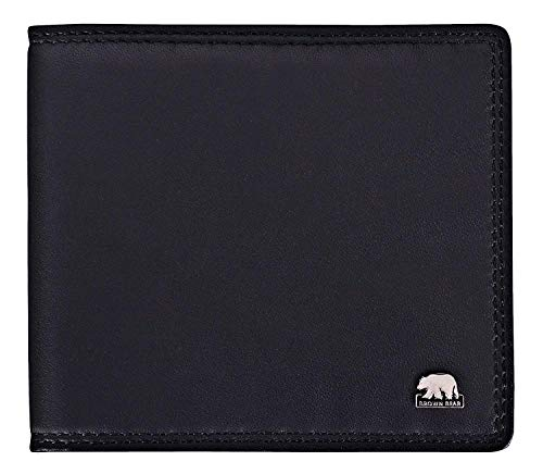 Brown Bear Notizblock-Etui Leder Schwarz Schreibmäppchen klein für Damen und Herren mit RFID Schutz für Bankkarten & Ausweise inklusive A7 Blöckchen