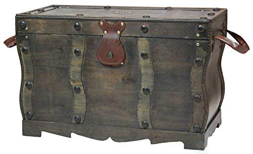 Vintiquewise QI003250L Antique Style Distressed Wooden Pirate Treasure Chest