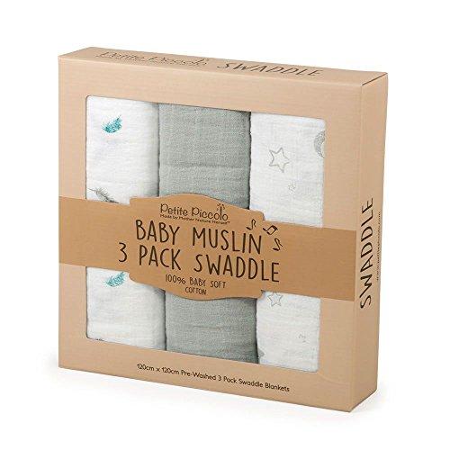 Petite Piccolo 8004st Baby muselina Hooded Juego de toallas de mano Stars /& Moon color blanco