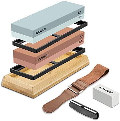 Sharpening Stone Whetstone Set 2 Side Grit 400 1000 3000 8000 KEENBEST Professional Kitchen product image