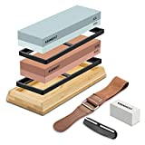 Sharpening Stone Whetstone Set 2 Side Grit 400/1000 3000/8000 KEENBEST Professional Kitchen Knife Sharpener Stone Kit, Best Wet Stones for Sharping Knives with Bamboo Basee and Leather Strop