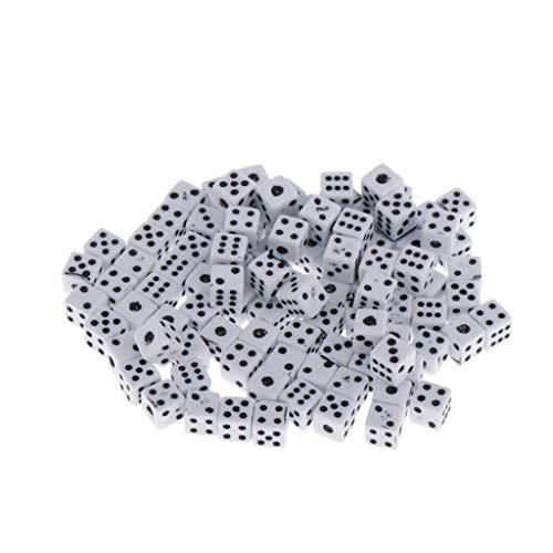 Baoblaze 100Pcs 5mm Würfel Set Farbig Dice 6-seitig Punkte Würfel