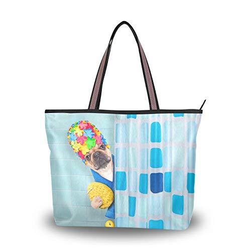 NaiiaN Umhängetaschen Handtaschen Geldbörse Einkaufen Französische Bulldogge Badewanne Ente Leichte Tragetasche für Frauen Mädchen Damen Studentin