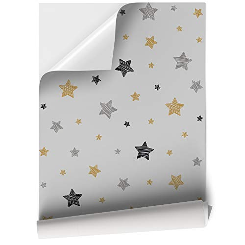 DON LETRA Papel Vinilo Adhesivo de Estrellas para Muebles y Pared de Habitación Infantil, 45 x 200 cm, Color Gris, VNL-097-2M