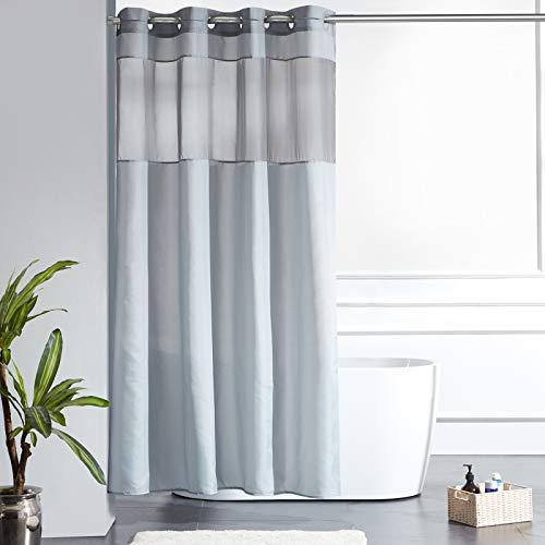Furlinic Schmaler Duschvorhang für Eck Dusche Badewanne Badvorhang mit Gazefenster aus Stoff Schimmelresistent Wasserdicht Waschbar Grau 150x180 mit Groß Ösen.