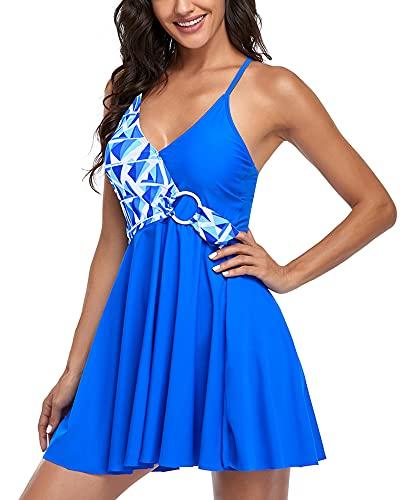 Traje de Baño Mujer Tankini Bañador Faldas Talla Grande Dos Piezas Correa Halter Cuello en V Bikini (Enrejado Azul XL)