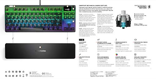 SteelSeries Apex Pro TKL - Mechanical Gaming Keyboard - Adjustable Actuation Switches - OLED Smart Display - Compact Form - English QWERTY Layout PlayStation 4 Accessories PlayStation 4 Consoles, Games & Accessories