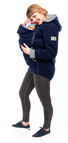Viva la Mama Damen Tragejacke Fleece Winterjacke Mama Baby Fleecepullover für Tragetuch Umstandsjacke – AHOI Marine blau Streifen – XXL - 2