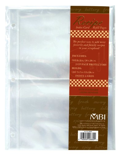 MBI 5x7 Inch Recipe 2-Up Refill Pages, 10pk, 20 Pockets (899860)