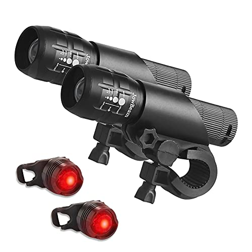 2 Packs Bike Light Set Super Bright Focus Adjustable Front Headlight and Rear LED Mountain Bicycle Light , Mount Included JB866