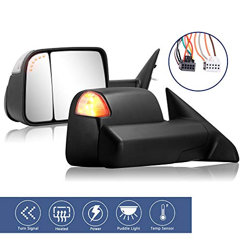 Towing Mirrors Replacement fit for 2009-2017 Dodge Ram 1500 2500 3500 Pickup Truck with Power Adjusted Heated LED Turn Signal Light Puddle Lamp Temp Sensor Extendable (LH + RH) Pair
