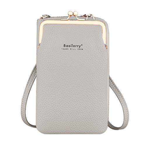 Bolso de teléfono móvil para mujer Monedero de cartera cruzada Mini bolso de teléfono celular cruzado de cuero ligero con ranuras para tarjeta de correa(Gris)