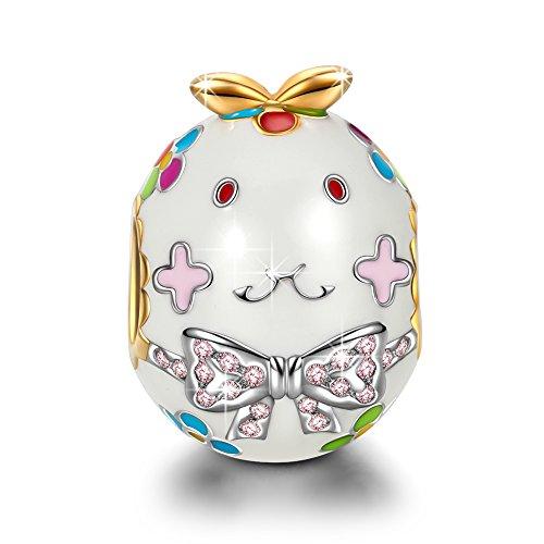 NINAQUEEN Charm Encaja con Pandora Conejo Animal Regalos Mujer Originales Plata de Ley 925 Esmalte Abalorios para Niñas Madre Hija Esposa de Cumpleaños