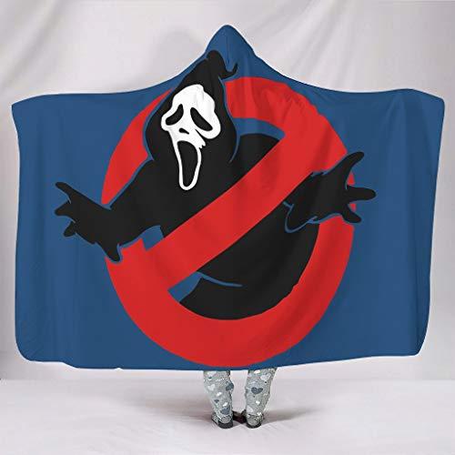 Vrnceit Screambusters atmungsaktiv farblos tragbare Überwurfdecken mit Kapuze Wickeln für Haus in kalter Umgebung Warmer Stil Lustige Ghostbusters White 130x150cm