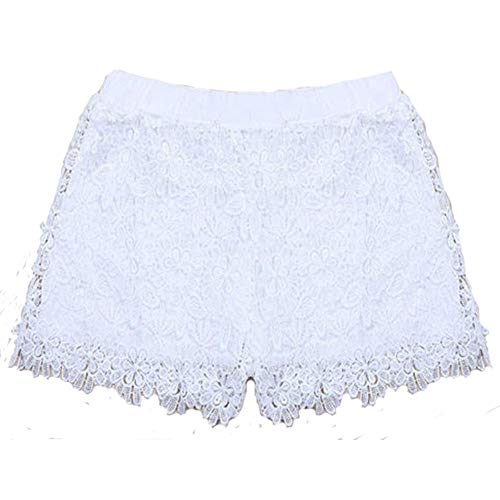 LIKEZZ Sommer Sexy Frau Kurze Hosen Sweet Style Blau Weiß Spitzenshorts mit Schleife Slim Shorts, Weiß, M