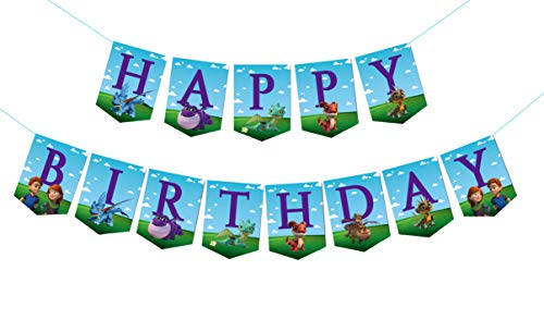 Dragon Rescue Riders Birthday Banner, Party Decorations,Children's Birthday Party Decoration