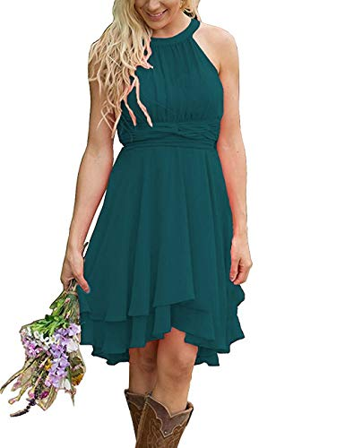 Bridesmaid Dress Halter Prom Dresses Chiffon Formal Evening Gowns High Low Bridesmaid Dresses