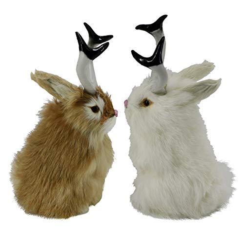 H HILABEE 2pcs Vivid Jackalope Rabbit Statue Easter Spring Bunny Home Art Ornament