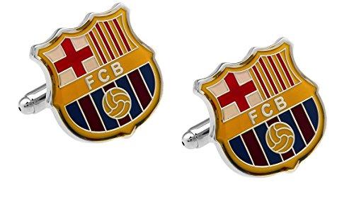 Barcelona Futbol Club Logo Manschettenknöpfe mit Gras wie Geschenk-Box–Soccer Fußball