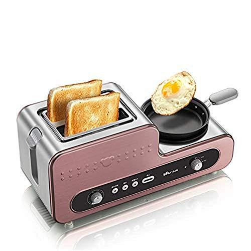 KAYBELE Tostadora Máquina de Desayuno multifunción de Acero Inoxidable con Pan para la Parrilla Antiadherente, 1230W de Pan para Tostadas Huevos hervidos Bacon Frito, Ajuste de 6 velocidades