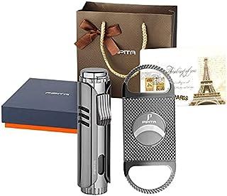 PIPITA Torch Lighter Windproof Cigar Butane Jet Lighter, Adjustable Single Flame Refillbale Fuel Lighter (Butane Not Inclu...