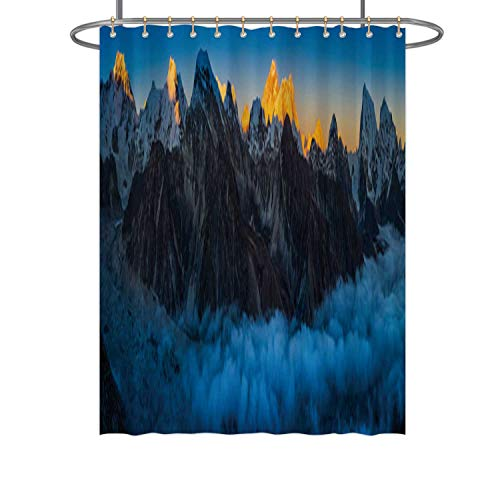 Hitecera Everest Sunset Glow Above Clouds Alaya Mountain Peaks Panorama Nepal,Bathroom Decor Set 042078 with Hooks 71 in by 59 in (WxH)
