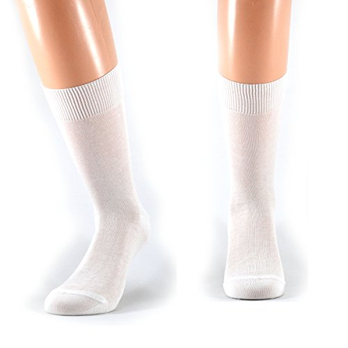 Fontana Calze, 6 paia di calze UOMO corte in 100% Cotone Filo di Scozia. BIANCO TG 42/44,5